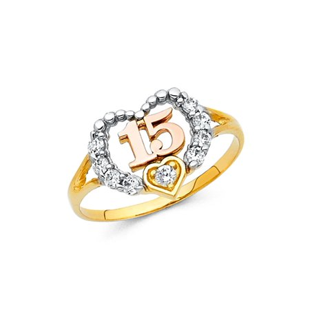 Sweet 15 Heart Ring Solid 14k Yellow White Rose Gold Quince Band CZ Beaded Design Tri Color ()