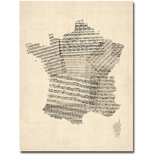 "Trademark Art ""France - Music Map"" Canvas Wall Art by Michael Tompsett"