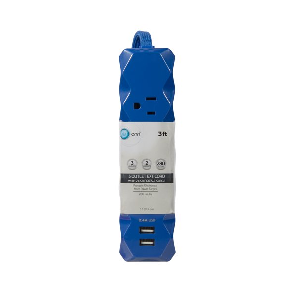 Onn 3 Outlet 2 Usb Port Surge Protector Cobalt Blue Walmart Com Walmart Com