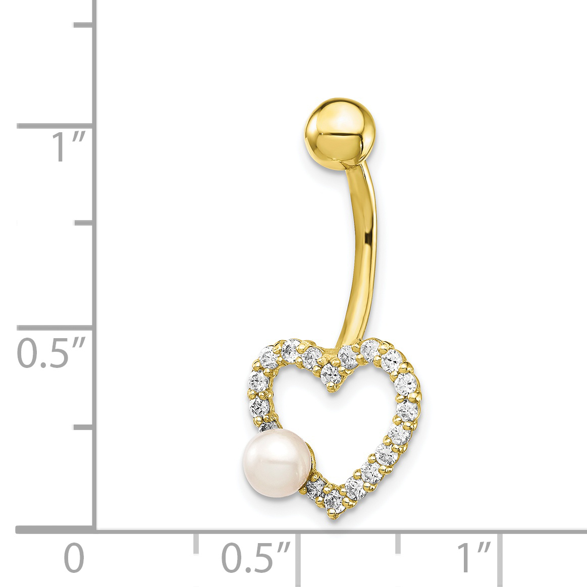14k Gold Belly Button Freshwater Cultured Pearl Barbell Navel Ring