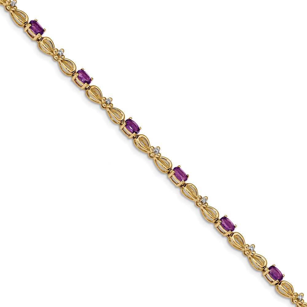 3.3mm 14k Polished 0.01ct. Diamond and 2.2ct Amethyst 7.5inch Bracelet .010 dwt 2.20 cwt by