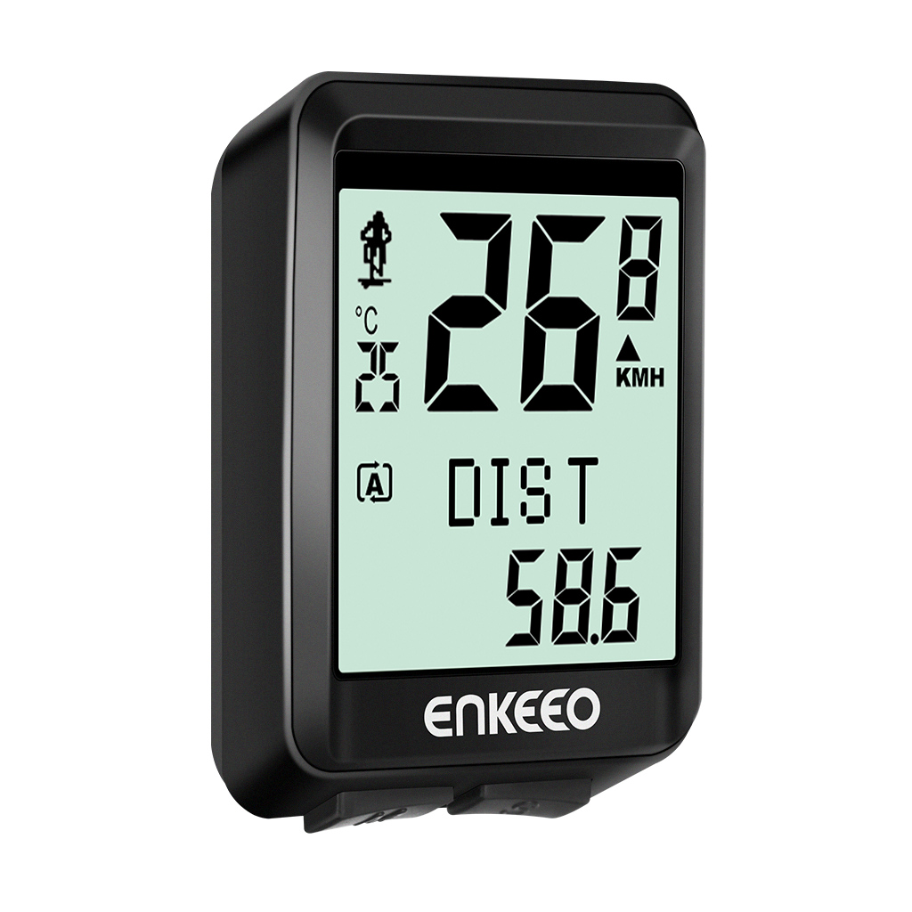 Enkeeo Wireless Bicycle Computer, Speedometer, Bike Odometer, Backlit Display and Multifunctions Tracking Distance, Speed, Time, Calories, Temperature, CO2, Black