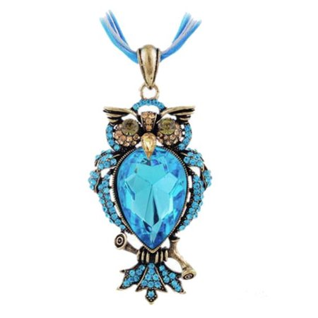 Blue Owl Pendant with Large and Small Crystal Stone Blue Necklace Woman Jewelry -