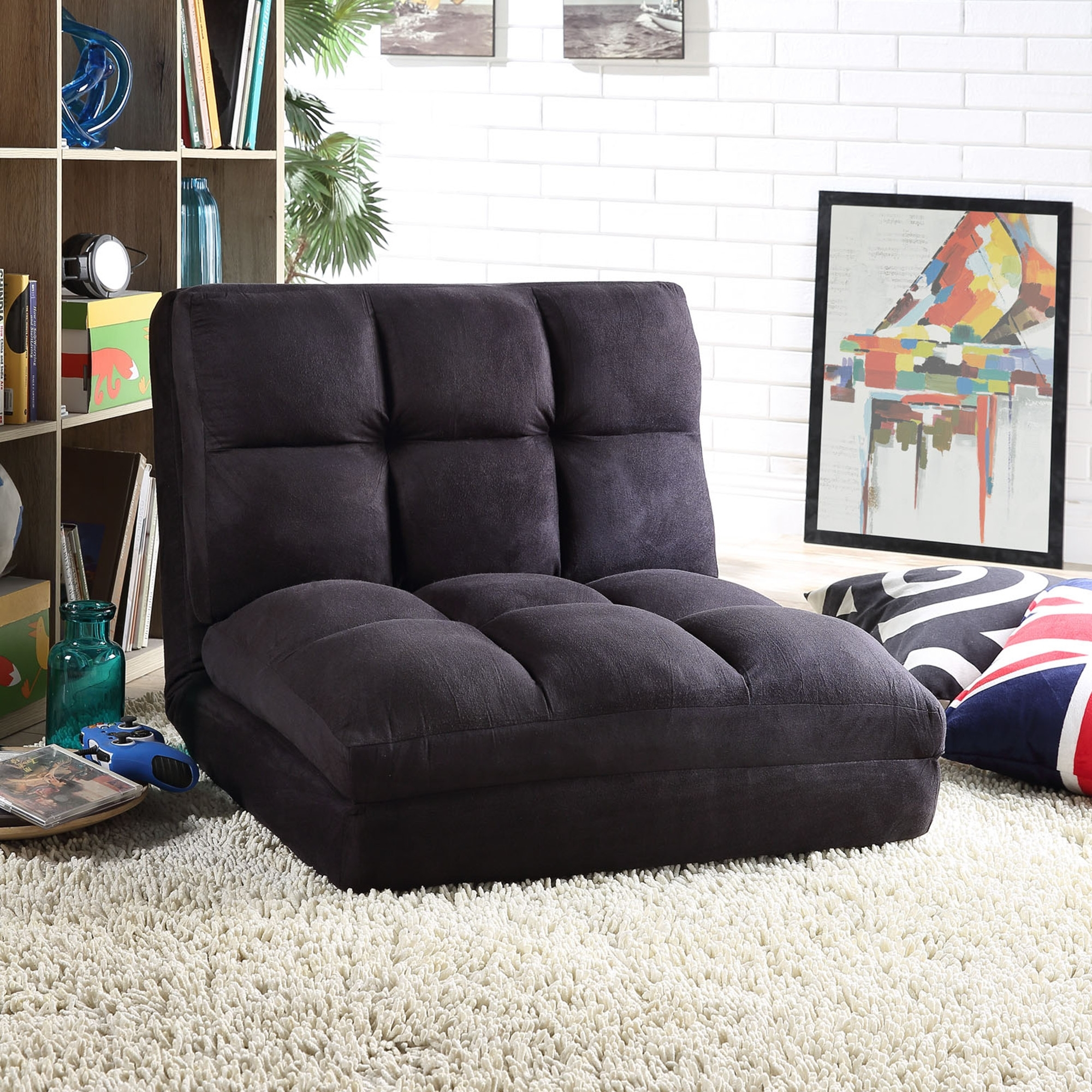 - Loungie Beige Microsuede Flip Chair - Sleeper Dorm Bed Lounger