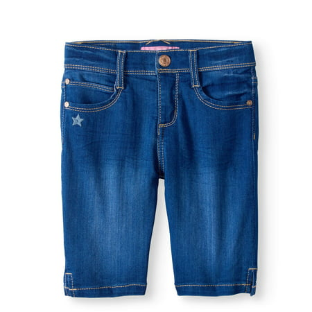 Girls Belted Denim Bermuda - LIttle Girls' 4-6X Super Soft Denim Skinny Bermuda Short