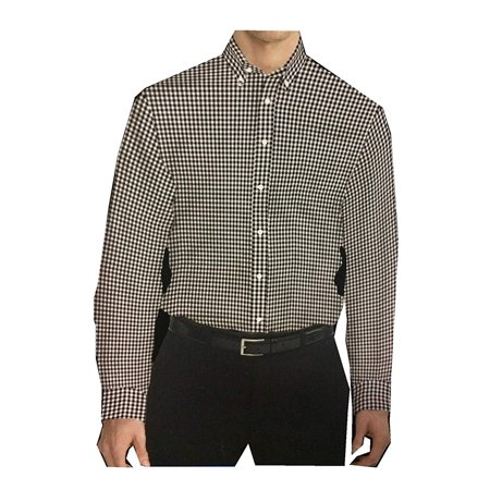 Kirkland Signature Men's Long Sleeve Cotton Non Iron Sport Shirt! (Black Check, X-Large) Cotton Non Iron Suit