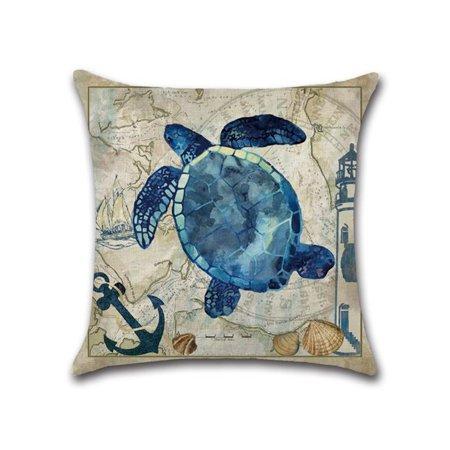 Marine Nautical Ocean Sea Life Cushion Cover Turtle Whale Pattern Pillow