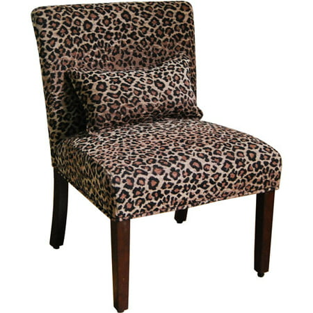 Upholstered Leopard Print Accent Side Chair Seat Wood ...