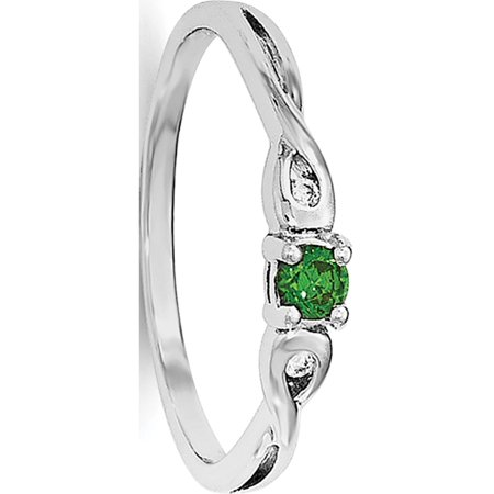 Sterling Silver Rhodium-plated Green & White CZ Ring - image 1 de 3
