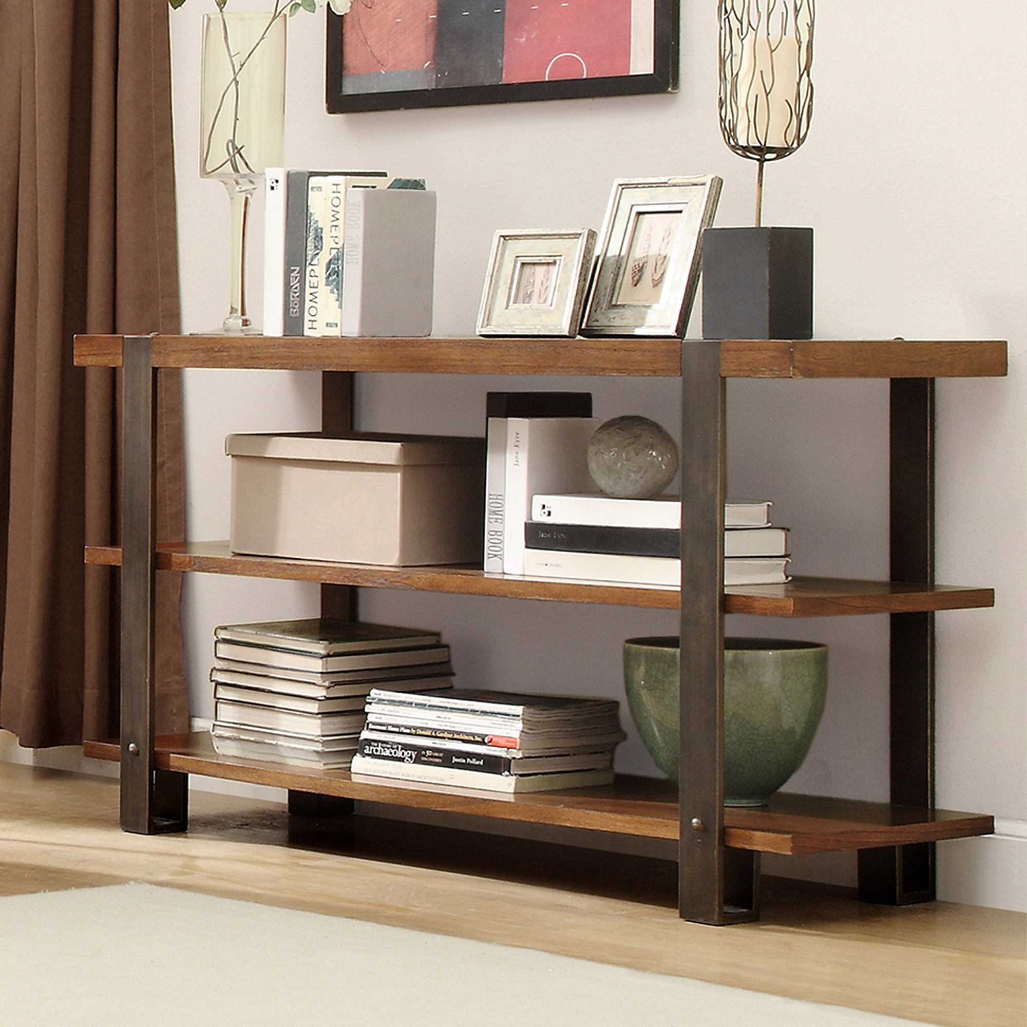 Industrial Collection Sofa Table, Light Brown