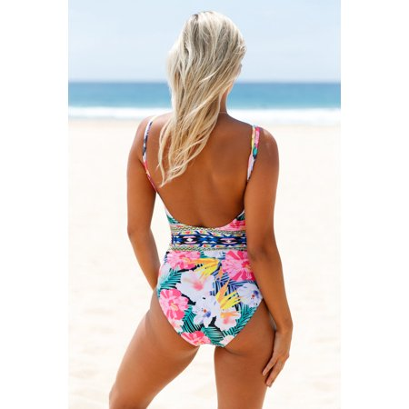 0af6114a656d1 Cali Chic Juniors' Swimsuit Celebrity Mesh V Neck Tropical One Piece  Swimsuit ...