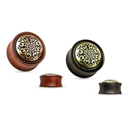 Ebony Saddle (Tribal Gauges Ear Plugs Jewelry Antique Inlay Wood Saddle Fit Double Flare )