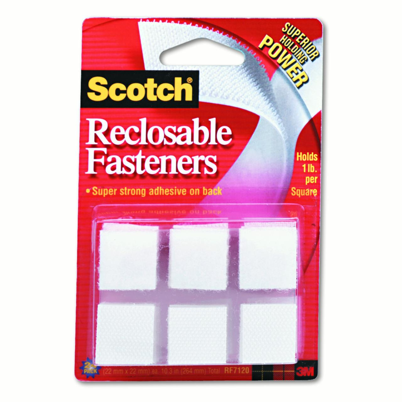 Scotch Recloseable Fasteners, White, 7/8in. x 7/8in. Squares, Pack Of 24