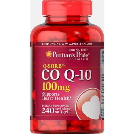 Puritan's Pride Q-SORB Co Q-10 100 mg-240 Rapid Release Softgels ()