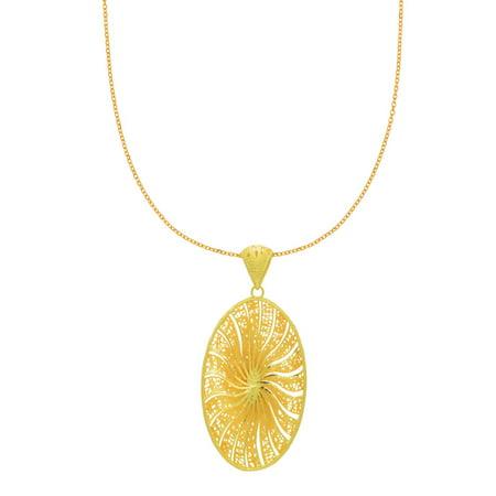 14 Karat Yellow Gold 48x22mm Oval Shaped Starburst Necklace, 18 (14 Karat Gold Vs 18 Karat Gold)