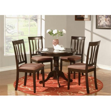 3 -Piece Antique Round Kitchen 36 in. Table and 2 Chairs with Microfiber Upholstered seat