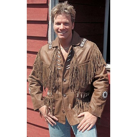 Western Brown Leather Jacket with Fringe and Bone Beading #M2633BBFN