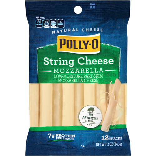 Polly-O Low-Moisture Part-Skim Mozzarella String Cheese, 12 ct