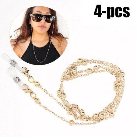4Pcs Eye Glasses Chain, Coxeer Sunglasses Reading Glasses Chain Beads Anti-lost Eyewear Chain Glasses Neck Chain Glasses Cord for Women (Glasses Cords)