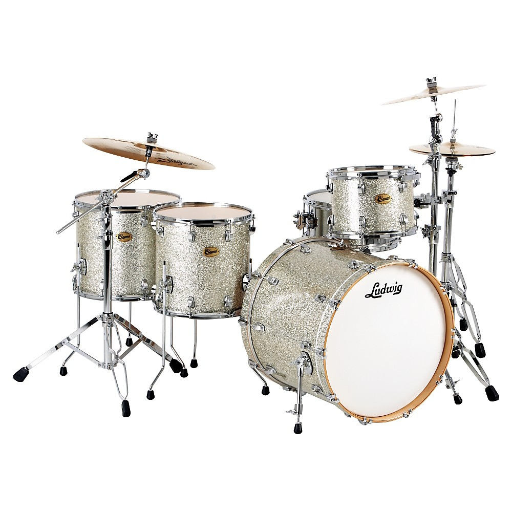 Ludwig Centennial Dragster 4-Piece Shell Pack Silver Sparkle by Ludwig