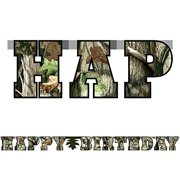 "Next Camo Banner ""Happy Birthday"" Havercamp Camouflage Hunting Party Decorations"
