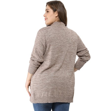 Women Plus Size Shawl Collar Open Front Sweater Cardigan Brown 3X - image 2 of 6