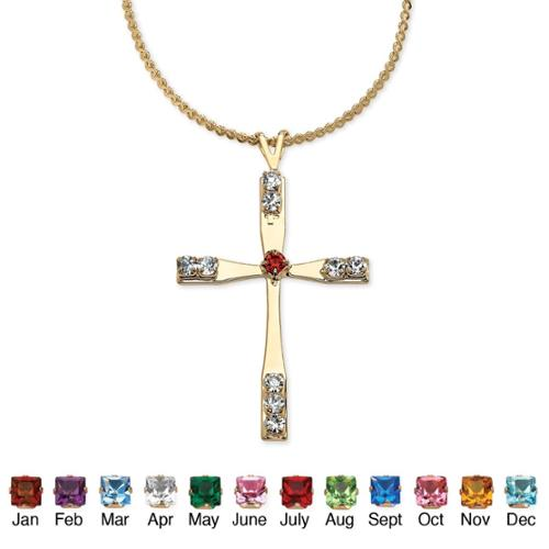 PalmBeach Birthstone Cross Pendant Necklace in Yellow Gold Tone Color Fun May - Simulated Emerald