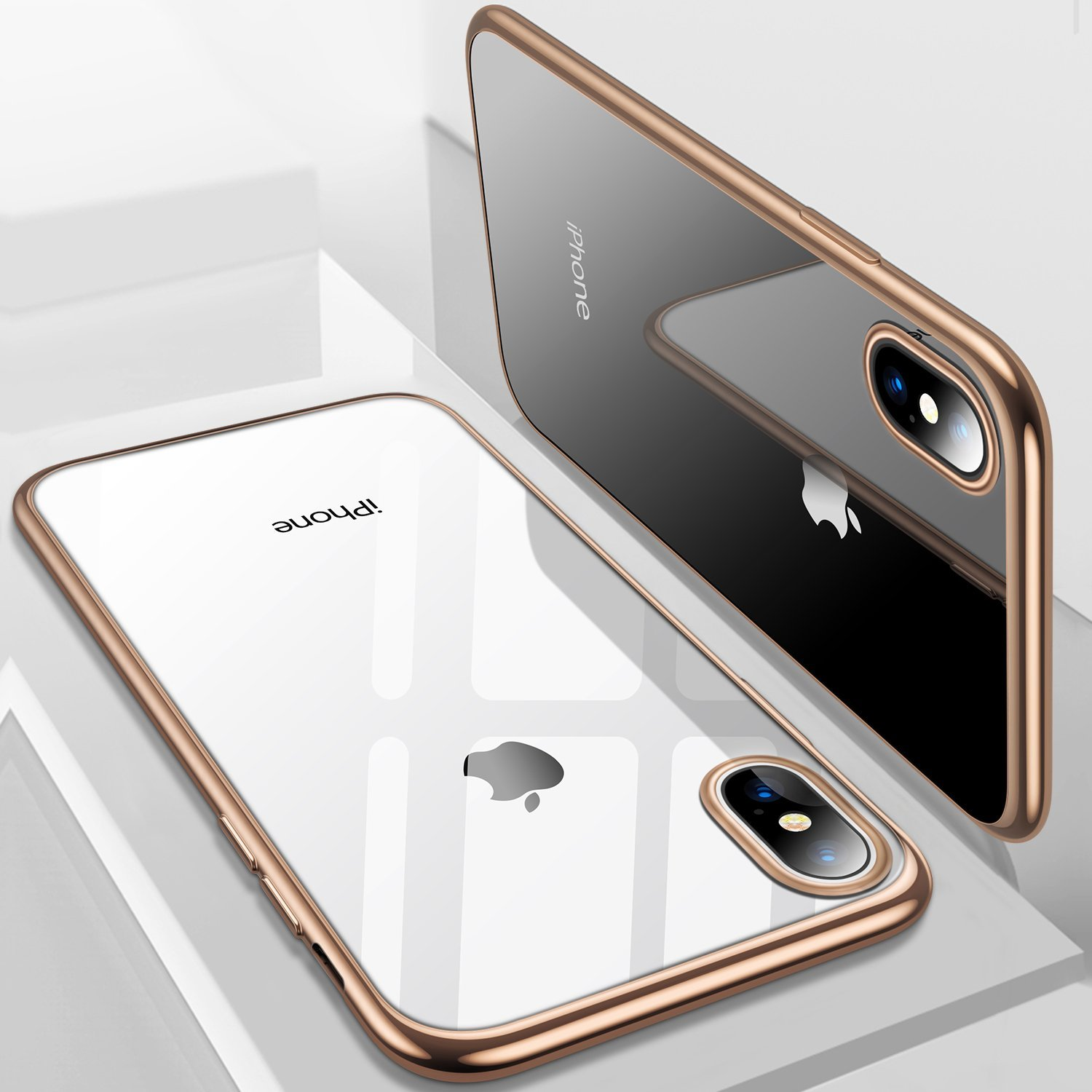 Njjex Crystal Clear Cases Cover For Apple iPhone XS Max / iPhone XS / iPhone X, Njjex Soft TPU Thin Cover with Transparent Edge Ultra Slim Case -Blue