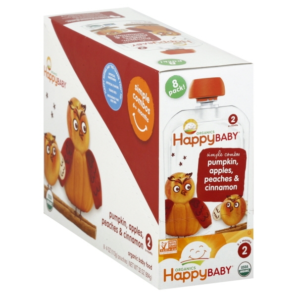 Happy Baby Simple Combos Pumpkin, Apples, Peaches & Cinnamon Organic Baby Food 8-4 oz. Box