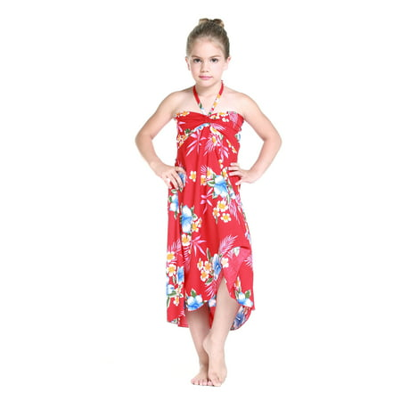 Girl Hawaiian Butterfly Dress in Hibiscus Red Size 12 for $<!---->