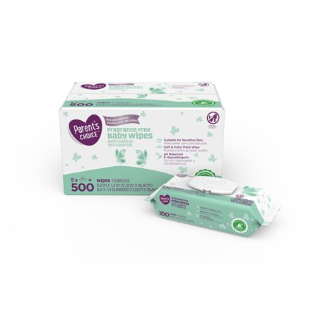 Parent's Choice Fragrance Free Baby Wipes, 5 packs of 100 (500 ct) -  Walmart.com