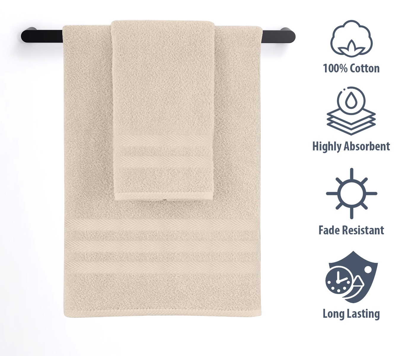 Gray 2 Pack Cotton Hand Towels Set,Thickened /& Soft Hotel Bathroom Towels,Durable and Super Absorbent Face Towels for Daily Use Such,13.7x29.5 Inch