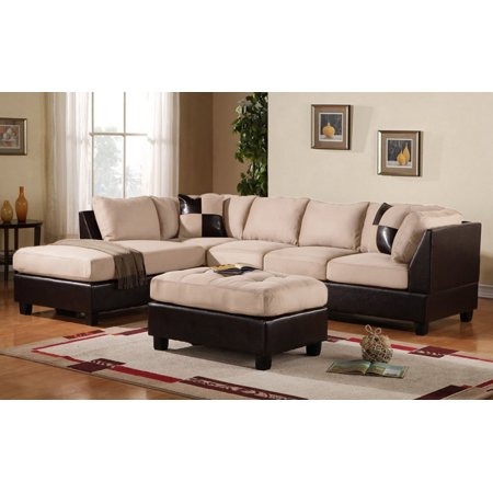 Mobilis 3 pc Modern Soft Reversible Microfiber and Faux Leather Sectional Sofa with Ottoman, Beige