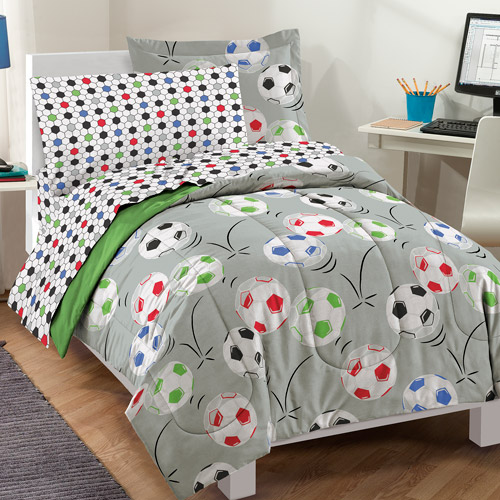 Dream Factory Soccer Comforter Set with Sheets