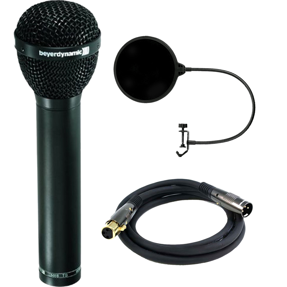 BeyerDynamic Dynamic Hypercardioid Polar Pattern Microphone for Vocals and Kick Drum (M88TG) includes Bonus Monoprice Male to Female Gold Plated Cable and More