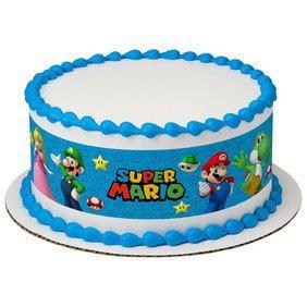 Super Mario Bros Game on Edible Icing Image Cake Border - Super Mario Cake