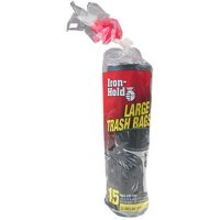 Iron-Hold Large Twist Tie Trash Bags, 33 Gallon, 15 Count