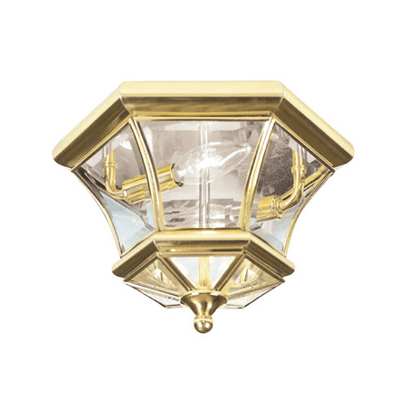 10.5 Inch Semi Flush - Semi Flush Mounts 2 Light With Clear Beveled Glass Polished Brass size 10.5 in 120 Watts - World of Crystal