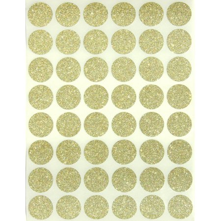 Glitter Dot Stickers 3/4  Round 17 mm, Color Coding Labels 0.69 inch circle gold sticker by Royal Green Glitter Round Sticker Labels by Royal Green. Use in your office, class, storage, educational projects, kids art, crafts projects, calendars, diary etc. Great for teachers, students, kids and more. Great to use as envelope seals for weddings and parties. The 3/4  round labels stick firmly to maps, documents, files, inventory, drawers and items on sale. In this package you will receive 720 labels. 48 stickers per sheet. 15 sheets total.