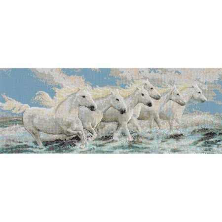Horse Cross Stitch - Seaside Horses Counted Cross Stitch Kit, 21