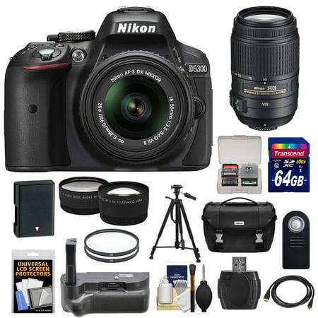 Nikon D5300 Digital SLR Camera & 18-55mm G VR DX II Lens (Black) with 55-300mm VR Lens + 64GB Card + Battery + Case + Grip + Tele/Wide Lens