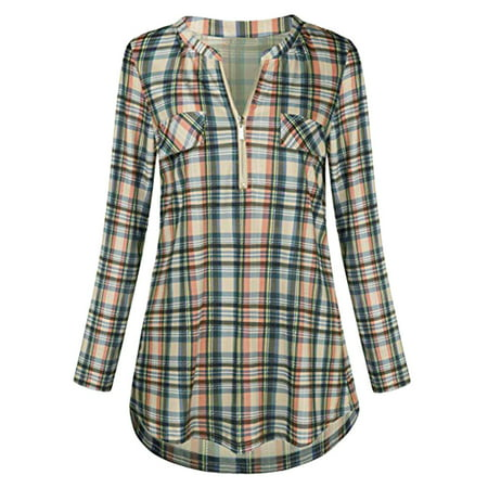 Plate Printed - Iuhan Womens Casual Rolled Sleeve Zipped V-Neck Plaid Printed Shirt Tunic Tops Blouse