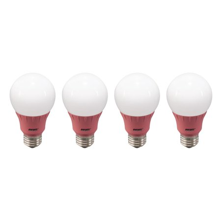Ceramic Pink A19 Bulb - Energetic LED Color Light Bulbs, 3W (40W Equivalent), Pink, A19 Shape, E26 Base, UL Listed, 4-count