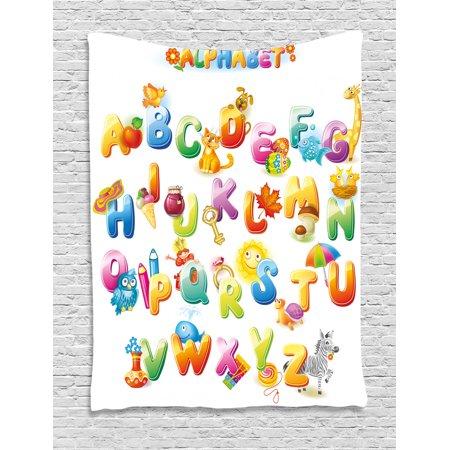 Educational Tapestry Cheerful Cartoon Fun Alphabet Design For Kids Cute Font Preschool Kindergarten Wall Hanging Bedroom Living Room Dorm Decor