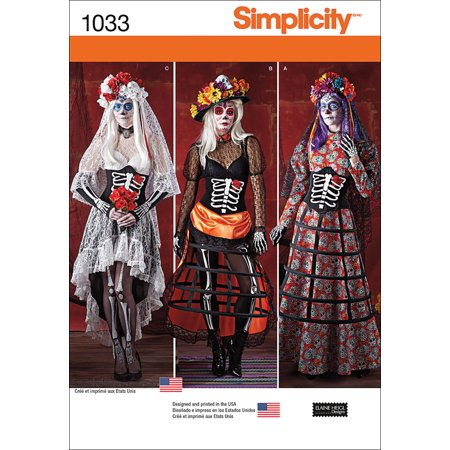 Simplicity Misses' Day Of The Dead Costumes, 14-16-18-20-22