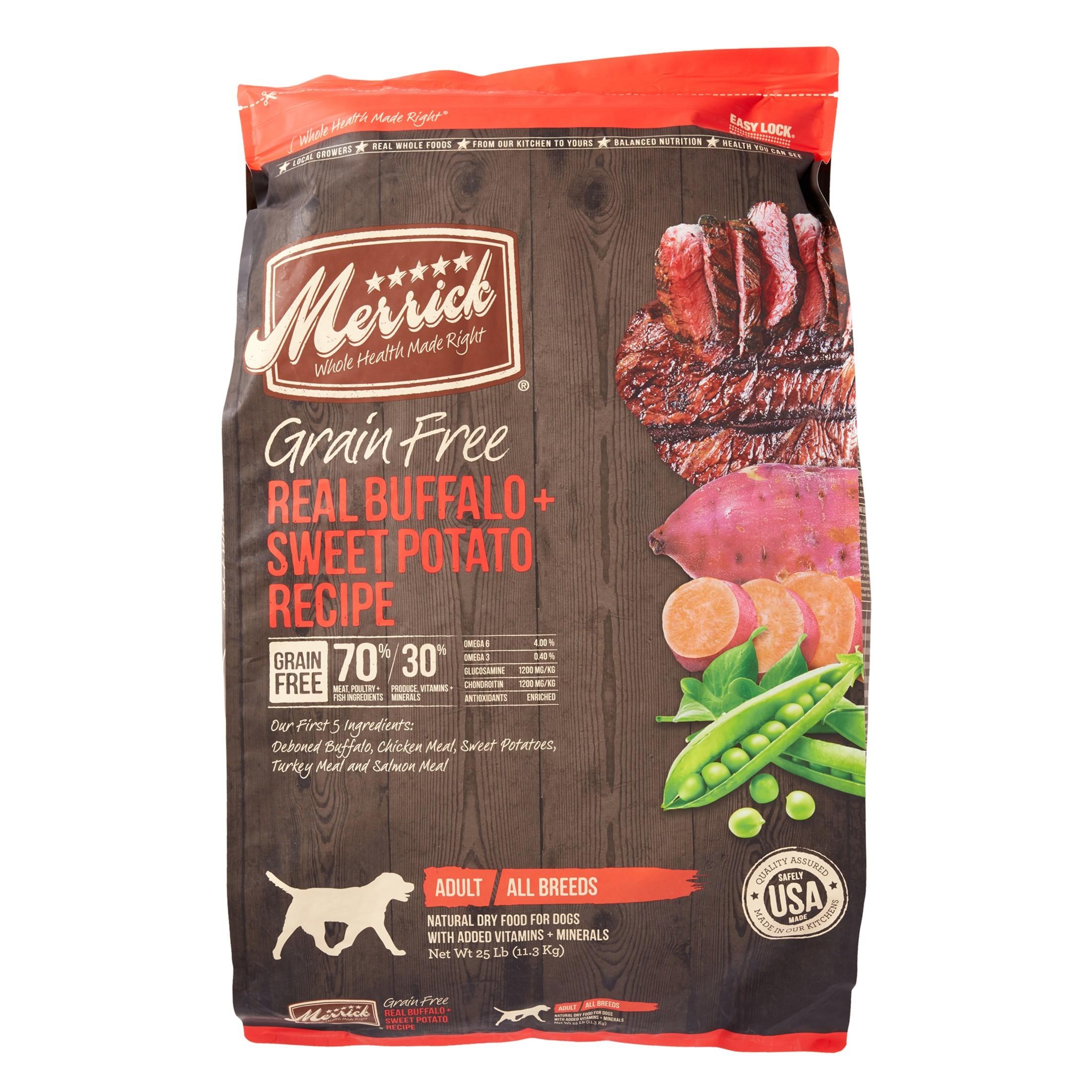 Merrick Grain-Free Real Buffalo & Sweet Potato Recipe Dog Food, 25 Lb