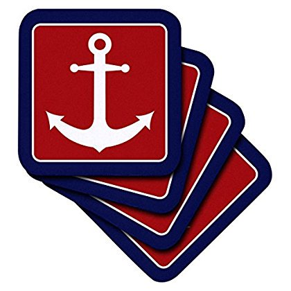 3dRose Red White and Blue Nautical Anchor Design, Soft Coasters, set of 4