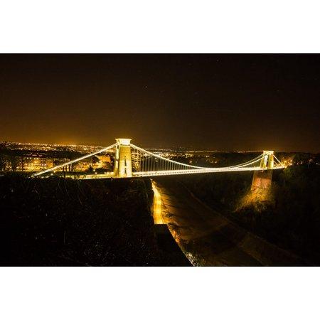 LAMINATED POSTER Lights City Bristol Night Bridge Poster Print 24 x 36](Halloween Night In Bristol)