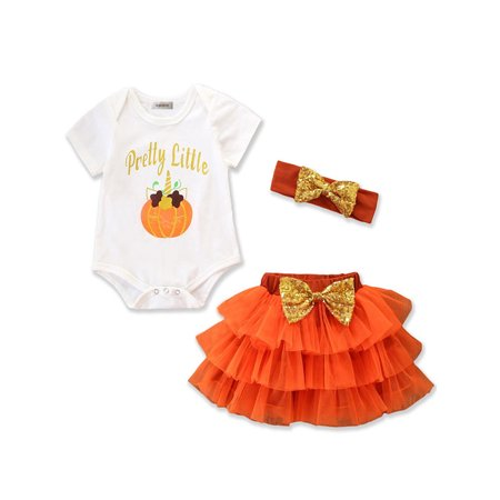 Infant Baby Girls Halloween Pretty Little Pumpkin Romper and Tutu Skirt with Headband 3pcs Set (80/6-12 Months, Orange)