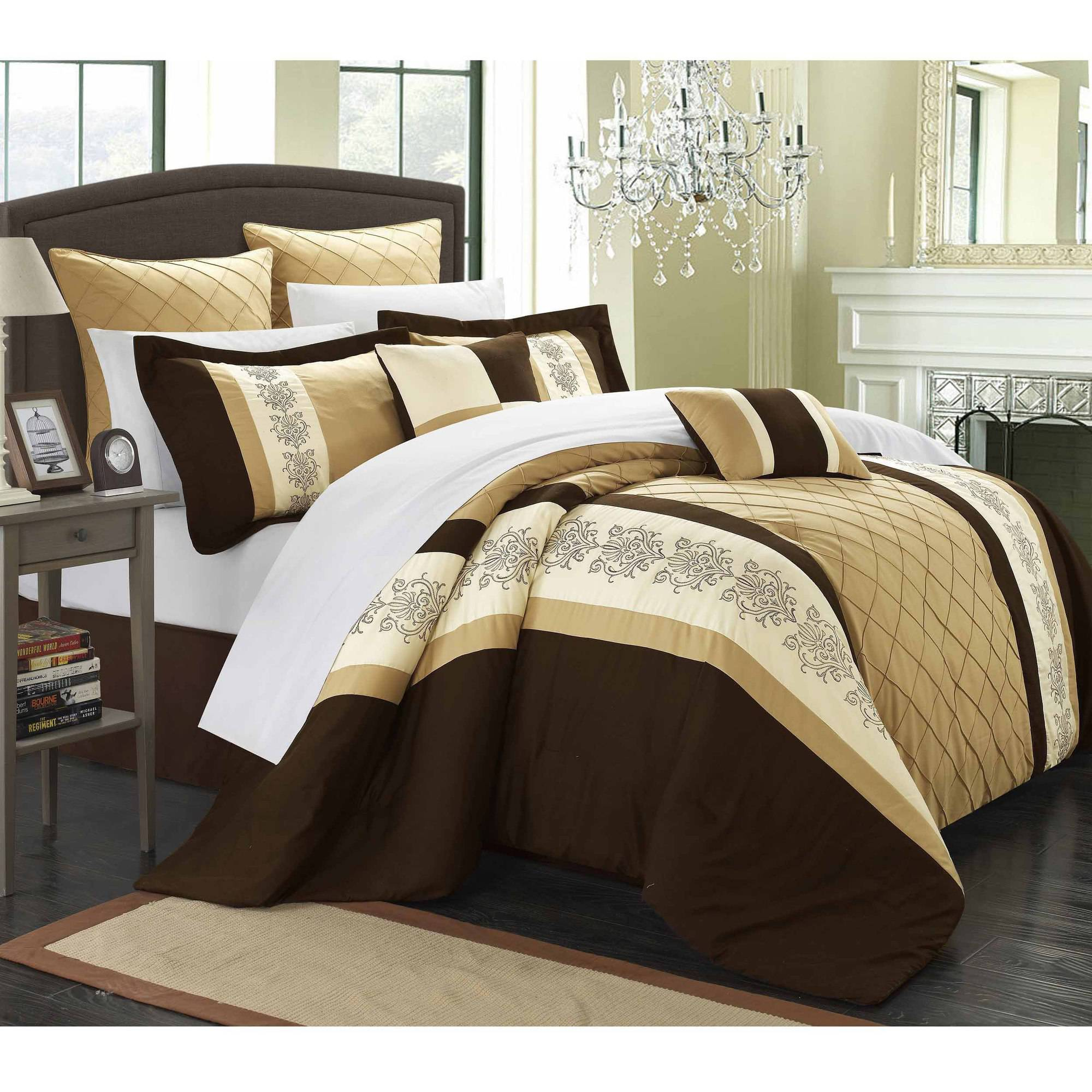 Chic Home Arlington 12-Piece Bed-in-a-Bag Embroidery Comforter Set
